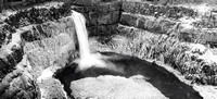 Icy Palouse Falls Panorama - Black and White