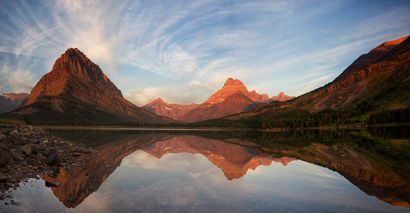 Dawn on Swiftcurrent Panorama